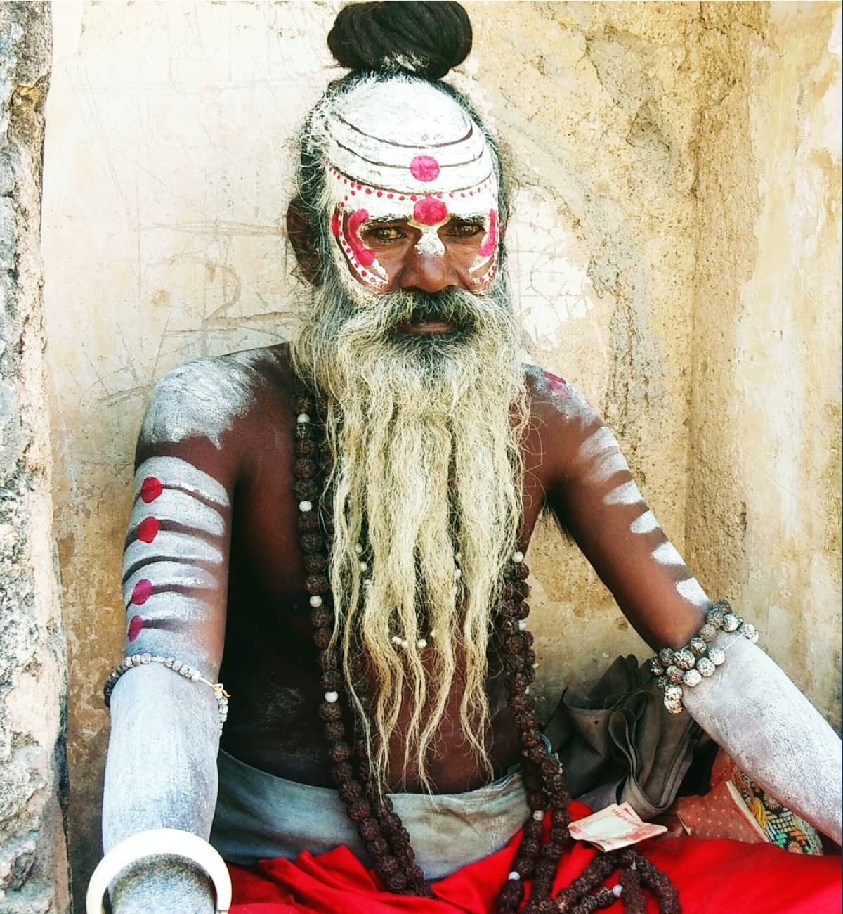 Man with traditional face paint.