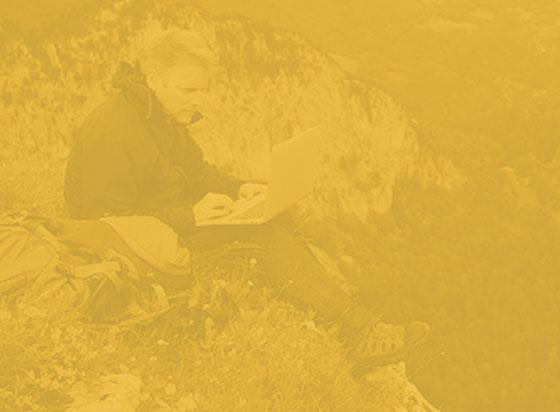 yellow monochrome of man using laptop on mountainside