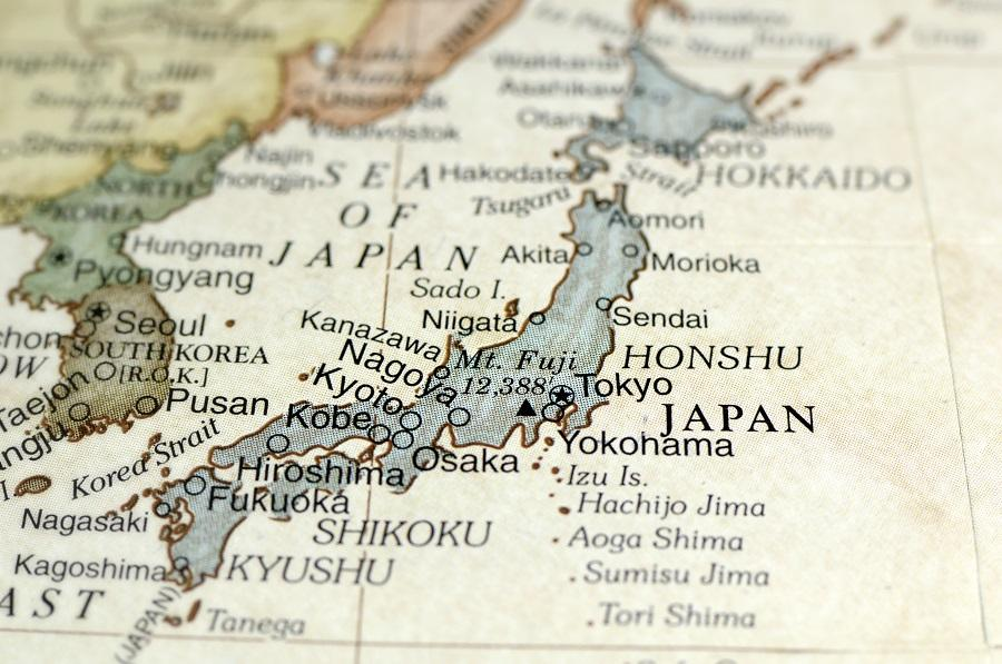 Close-up on a map showing the country of Japan